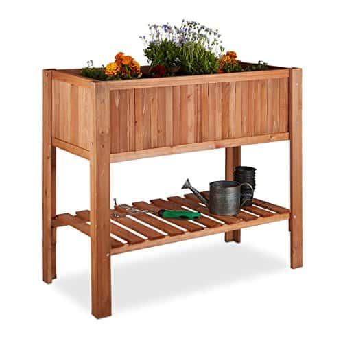 Relaxdays Hochbeet, Tannenholz, Ablagefach, 4 Beine, Pflanzkasten, Blumen, Kräuter, HBT: 80 x 88 x 43,5 cm, rotbraun
