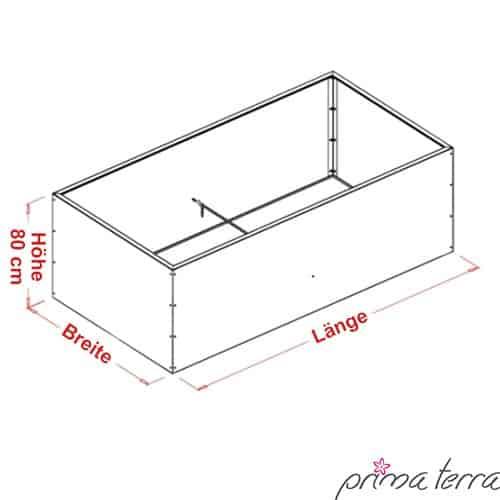 prima terra hochbeet bausatz edelrost optimus ma e 200x100cm h he 80cm ratgeber hochbeet kaufen. Black Bedroom Furniture Sets. Home Design Ideas
